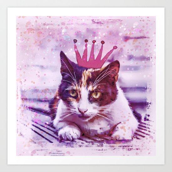 cute cat princess pink crown art Art Print