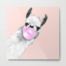 Bubble Gum Black and White Sneaky Llama in Pink Metal Print