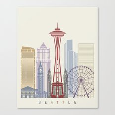 Seattle skyline poster Canvas Print