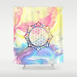 Rainbow Lotus Flower of Life Mandala Shower Curtain
