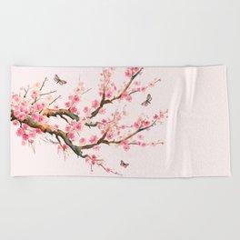 Pink Cherry Blossom Dream Beach Towel