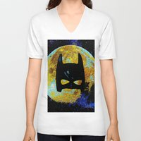bat V-neck T-shirts featuring BAT by Saundra Myles
