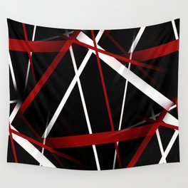 Seamless Red and White Stripes on A Black Background Wall Tapestry
