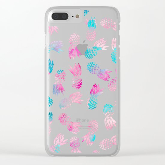 Modern summer tropical pineapple watercolor illustration pattern Clear iPhone Case