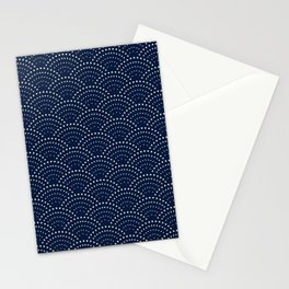 Japanese Blue Wave Seigaiha Indigo Super Moon Pattern Stationery Cards