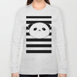 Cute, stripy Panda Face Long Sleeve T-shirt
