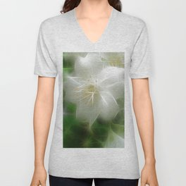 White Shiny Jasmine Unisex V-Neck