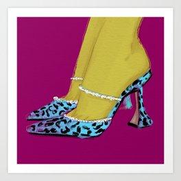 Leopard Heels Pink Art Print