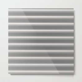 grey white stripes Metal Print