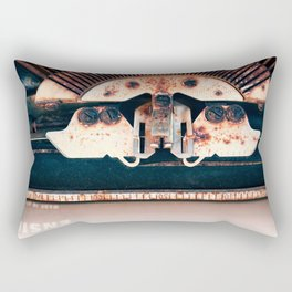 Industrial Landscape On The Face Of A Typewriter Rectangular Pillow