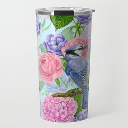 Blue jay and flowers watercolor pattern Travel Mug