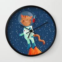 space cat Wall Clocks featuring Space Cat by Stephanie Fizer Coleman
