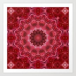 Crimson kaleidoscope.  Christmas  mandala . Art Print