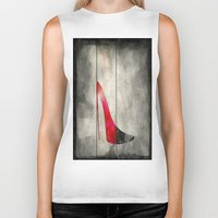 shoe Biker Tanks featuring Painted Shoe by V.L. Durand