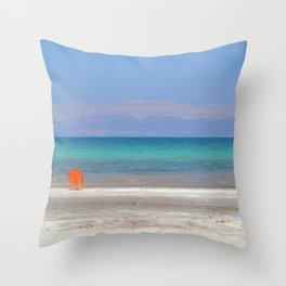 dead sea, orange chair Throw Pillow