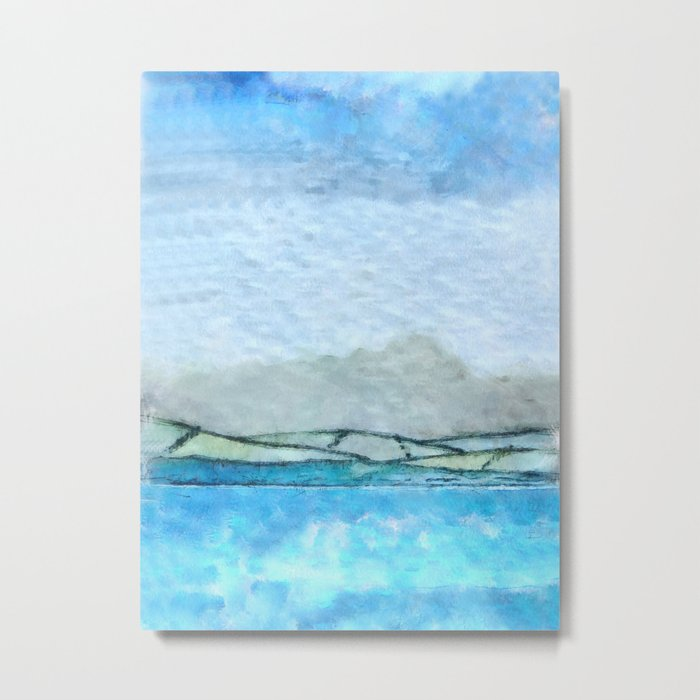 Landscape with fog and blue Metal Print