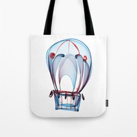 ballon Tote Bags featuring Hot Air Ballon by Ann Garrett