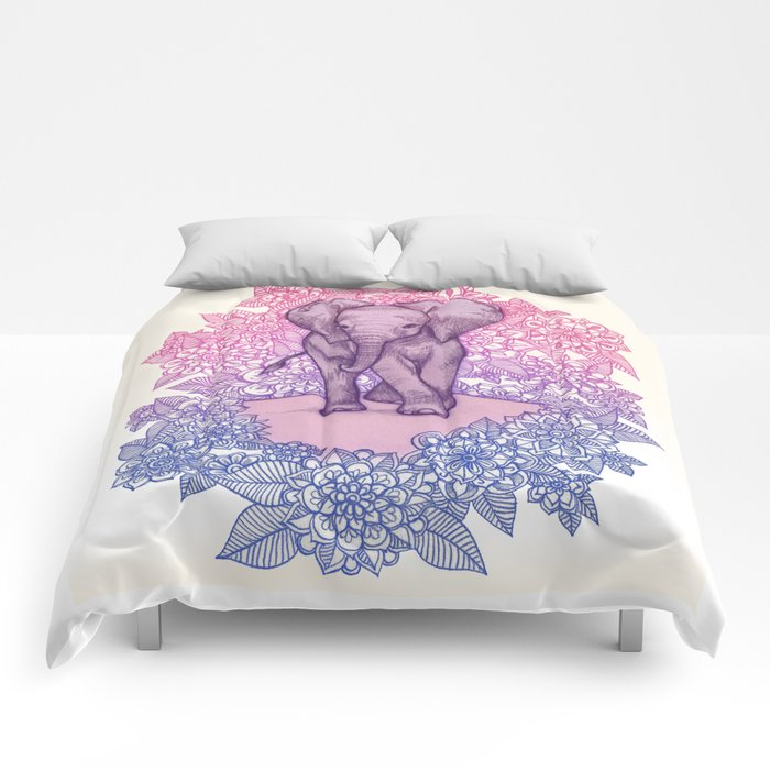 Cute Baby Elephant In Pink Purple Blue Comforters By Micklyn Society6