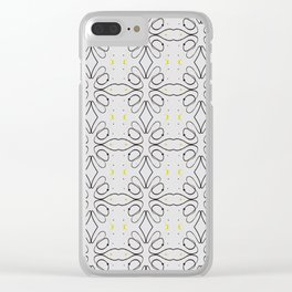 Black Curvy Line And Yellow Dots Clear iPhone Case