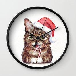 Christmas Animal Santa Cat Wall Clock