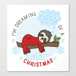 Sloth dreaming of a White Christmas Canvas Print