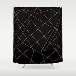Modern Gold & Black Geometric Strokes Design Shower Curtain