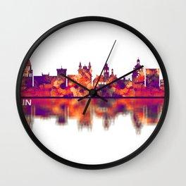 Lublin Poland Skyline Wall Clock