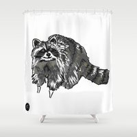 racoon Shower Curtains featuring Racoon by HelloDarlingDesign