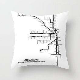 Chicago CTA Map, Chicago Map Art, CTA Art, Chicago Wall Art, Chicago Art, L Train, Art Print Throw Pillow