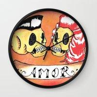 rockabilly Wall Clocks featuring Amor Rockabilly by El Catrin Arte