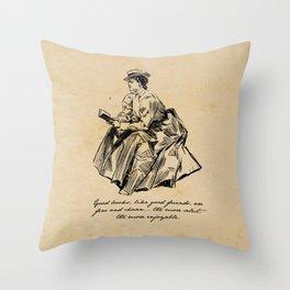 Lousia May Alcott - Good Books Throw Pillow