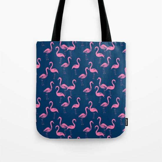 Flamingo modern watercolor girly cute navy blue pastel pink case tropical island summer animal  Tote Bag