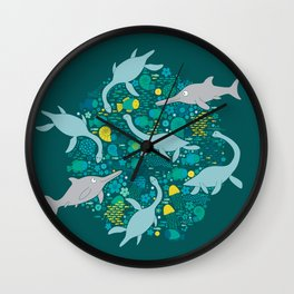 Swimming with Plesiosaurs - Turquoise and Lemon Wall Clock