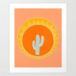 Cactus and the sun Art Print