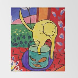 Cat with Red Fish- Henri Matisse Throw Blanket