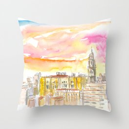 Malaga Cathedral And Mediterranean Cityscape Throw Pillow