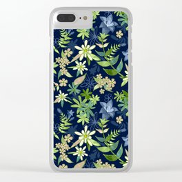Alpine Flowers Blue - Gentian, Edelweiss Clear iPhone Case