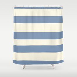 Dusk Sky Blue 27-23 Hand Drawn Fat Horizontal Lines on Dover White 33-6 Shower Curtain