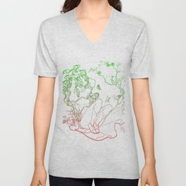 The Masked Fairy - leafy colors version - a masked fairy surrounded by butterflies and roses Unisex V-Neck