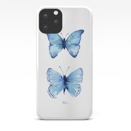 Two Blue Butterflies Watercolor iPhone Case