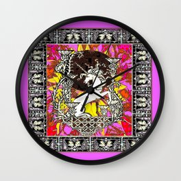 Lilac Decorative Unicorn Scottish Thistle Art Wall Clock