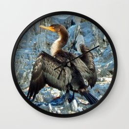 Double-Breasted Cormorant Dries Off Wall Clock