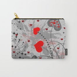 Abstract background with red hearts Carry-All Pouch