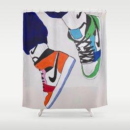 Sneaker Colorful Air Jordan 1's Shower Curtain