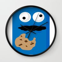 cookie monster Wall Clocks featuring Cookie Monster by Callum McGoldrick