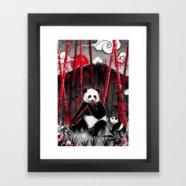 Red Bamboo Panda Framed Art Print