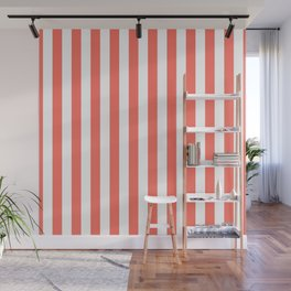 Living Coral Small Even Stripes Wall Mural