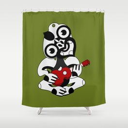 Black and Grey Hei Tiki playing a Ukulele Shower Curtain