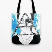 jared leto Tote Bags featuring jared triangle leto by anxiety