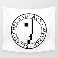 bauhaus Wall Tapestries featuring BAUHAUS LOGO / WHITE by THE USUAL DESIGNERS
